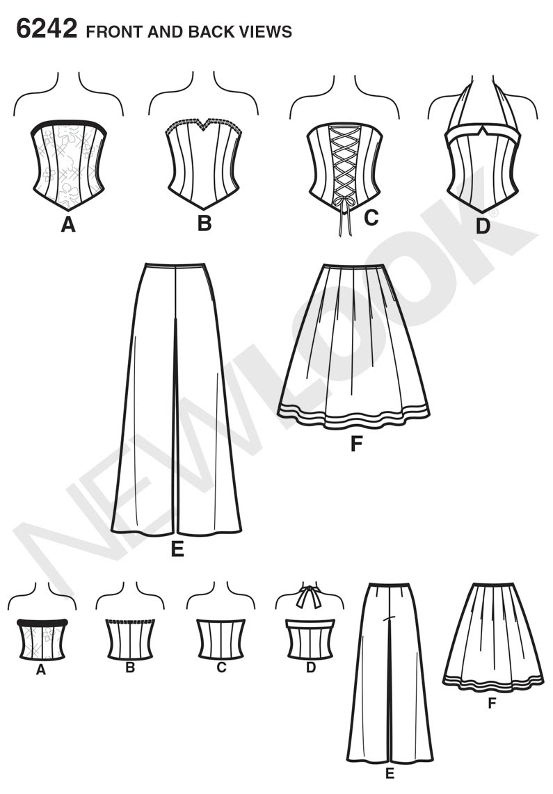 6242 New Look Pattern Misses Corset Top Trousers and Skirt